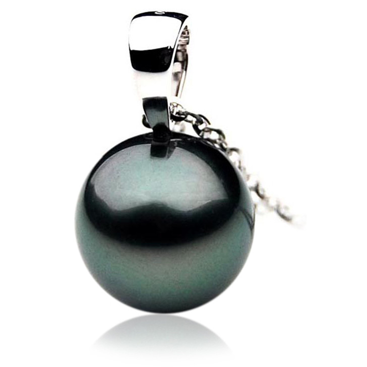 TP087 (AAA 14mm Tahitian Black pearl Pendant  in 18k White Gold)