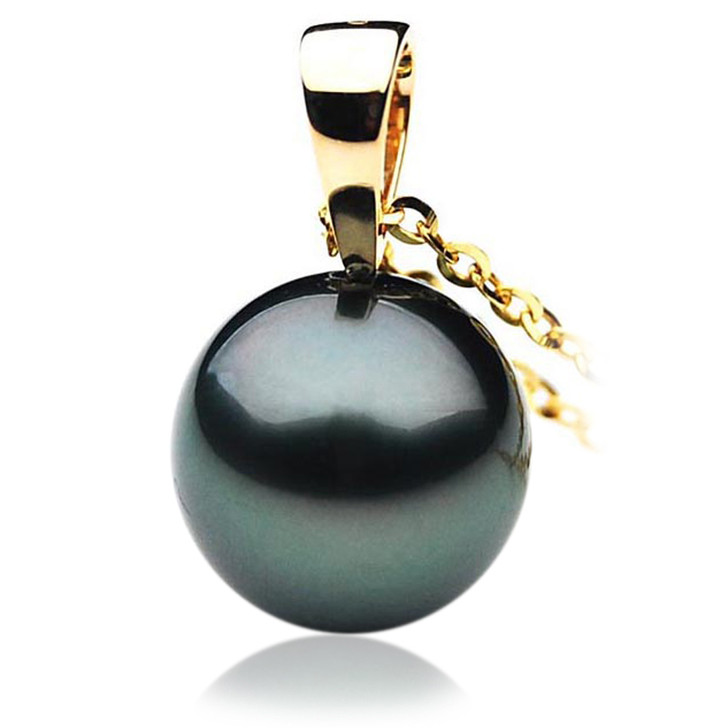 TP088 (AAA 14mm Tahitian Black pearl Pendant in 18k Gold)