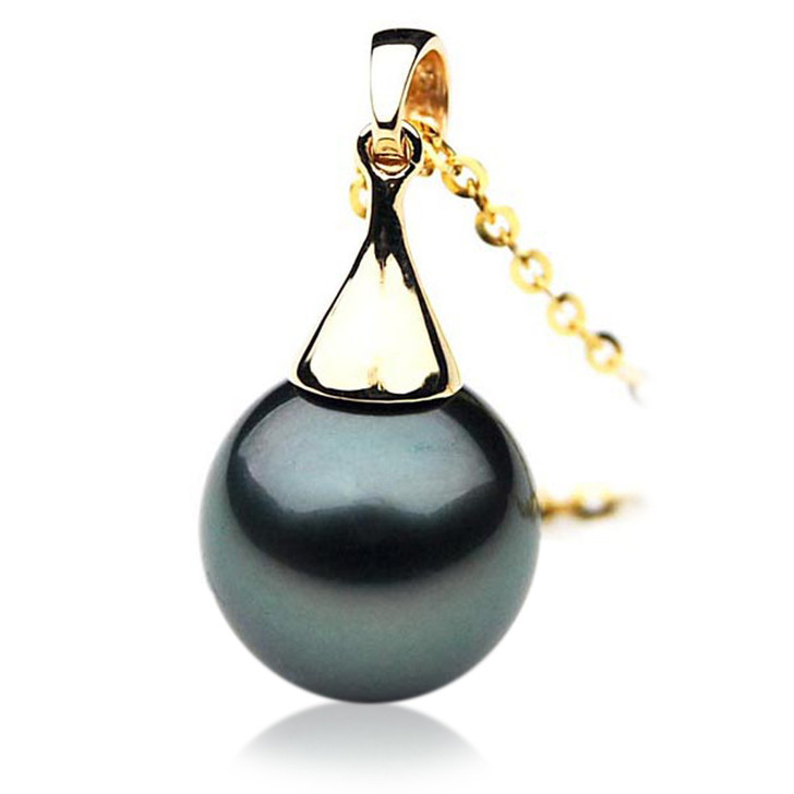 TP090 (AAA 14mm Tahitian Black pearl Pendant in 18k Yellow Gold)