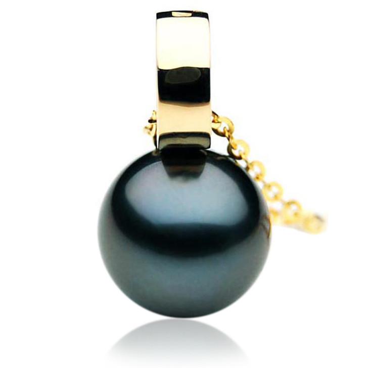 TP092 (AAA 14mm Tahitian Black pearl Pendant  in 18k Gold)
