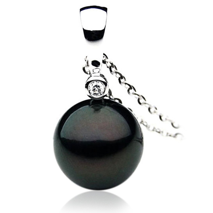 TP095 (AAA 14mm Tahitian Black pearl Pendant in 18k White Gold)