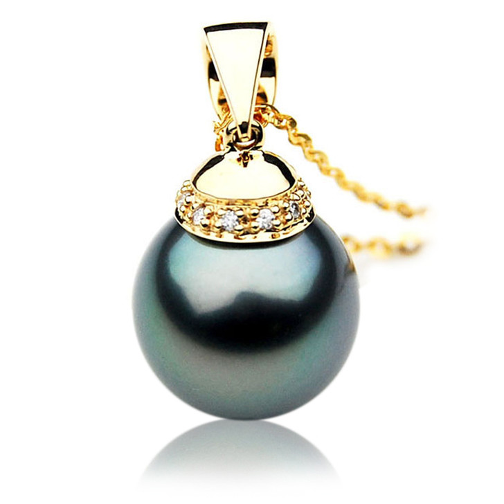 TP100 (AAA 14mm Tahitian Black pearl Pendant and Diamonds in 18k Gold)