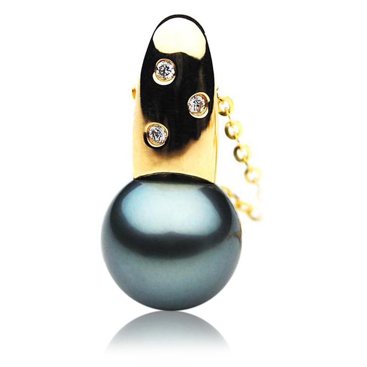 TP102 (AAA 14mm Tahitian Black pearl Pendant and Diamonds in 18k Gold)