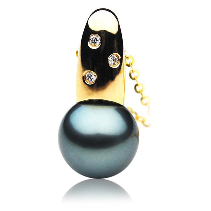 TP102 (AAA 14mm Tahitian Black pearl Pendant and Diamonds in 18k Gold)