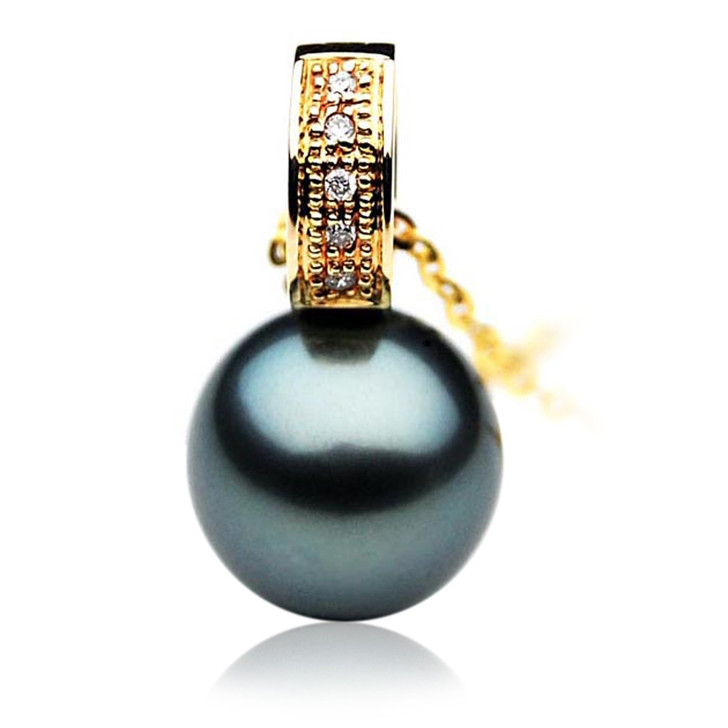 TP106 (AAA 14mm Tahitian Black pearl Pendant and Diamonds in 18k Gold)