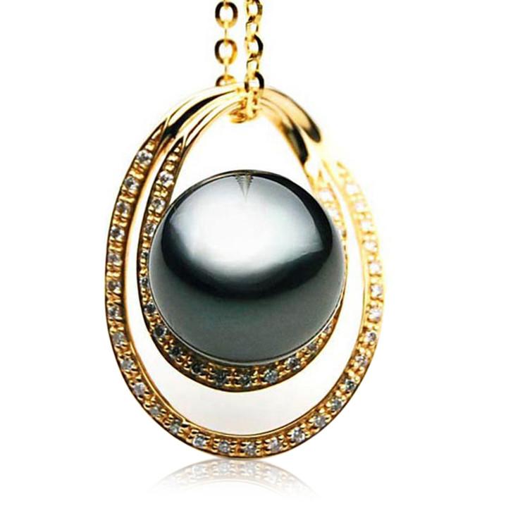 TP108 (AAA 14mm Tahitian Black pearl Pendant and Diamonds in 18k Gold)