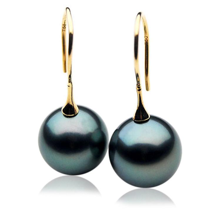 TE006 (AAA 11mm Tahitian Black Pearl Earrings In 18k Gold )