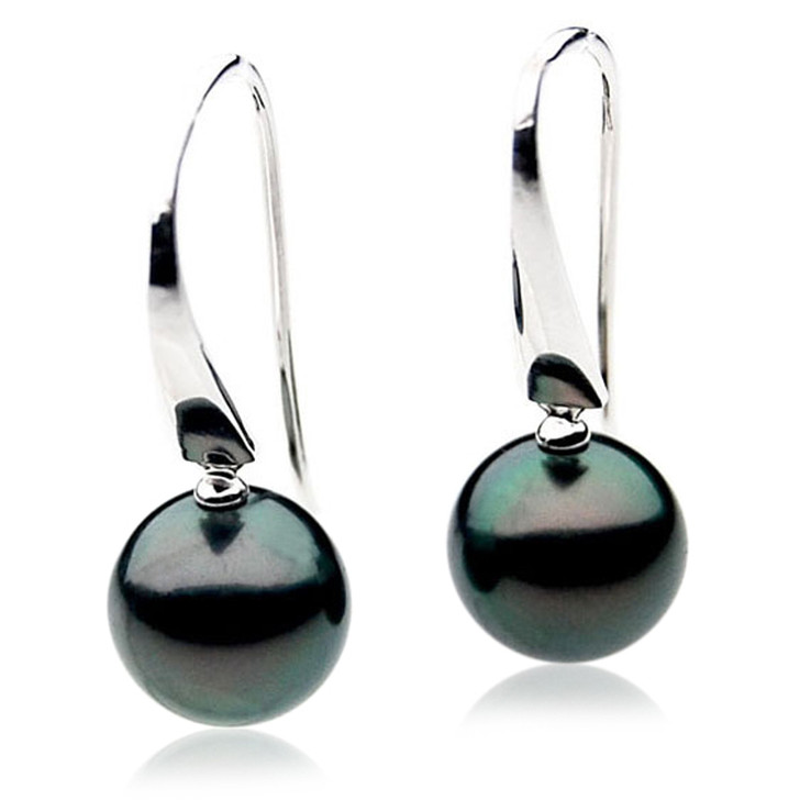 TE007 (AAA 11mm Tahitian Black Pearl Earrings In 18k White Gold )