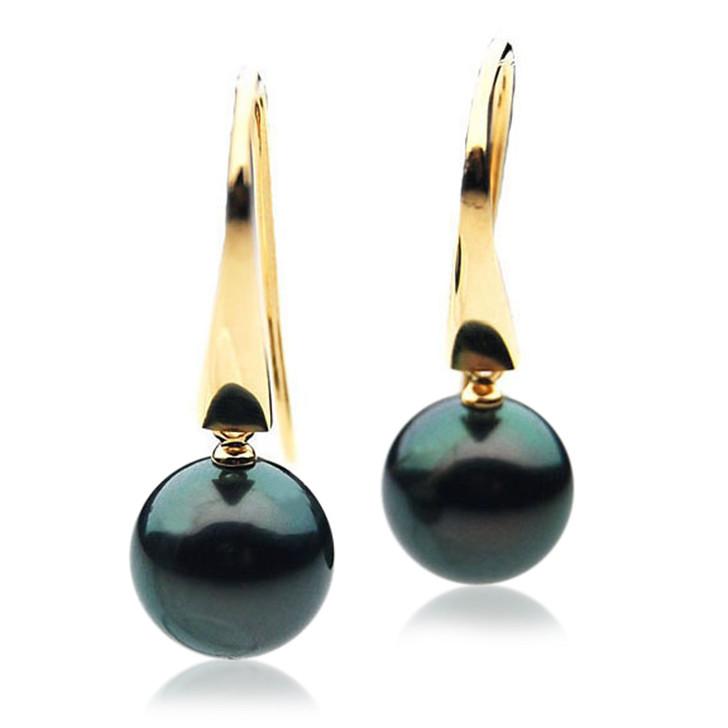 TE008 (AAA 11mm Tahitian Black Pearl Earrings In 18k Gold )