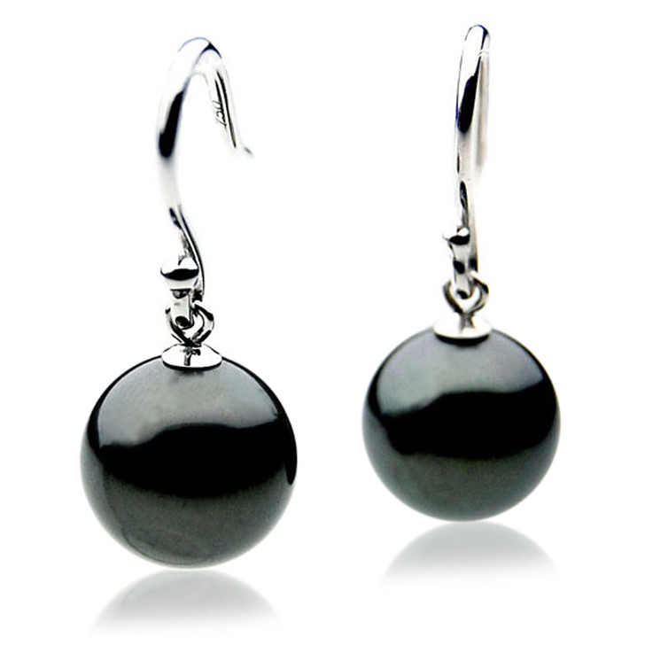 TE009 (AAA 11mm Tahitian Black Pearl Earrings In 18k White Gold )