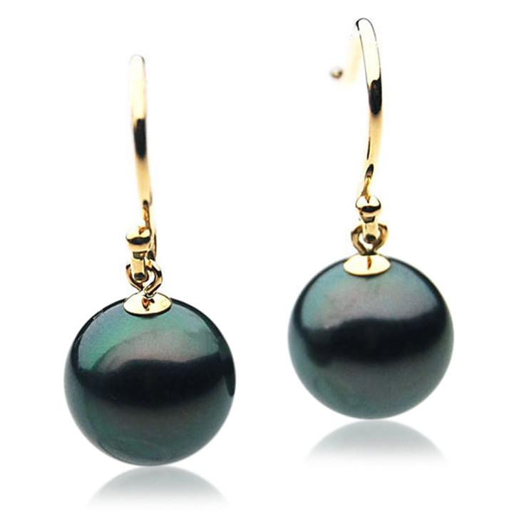TE010 (AAA 11mm Tahitian Black Pearl Earrings In 18k Gold )