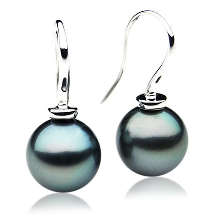 TE011 (AAA 11mm Tahitian Black Pearl Earrings In 18k White Gold )