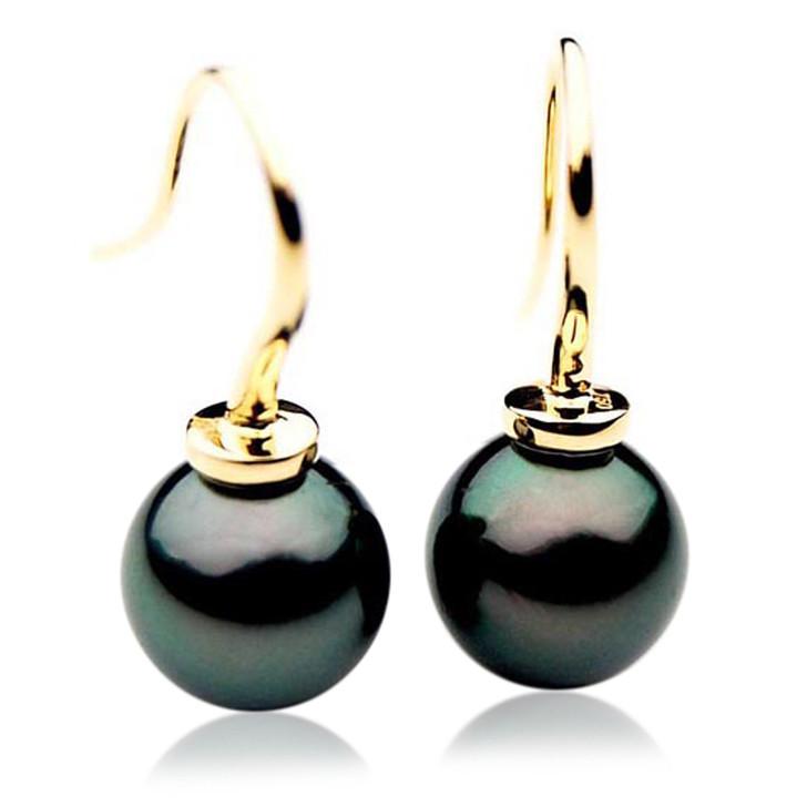 TE012 (AAA 11mm Tahitian Black Pearl Earrings In 18k Gold )