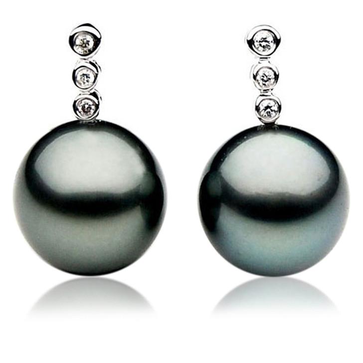 TE017 (AAA 11mm Tahitian Black Pearl Earrings Diamond 18k White Gold )