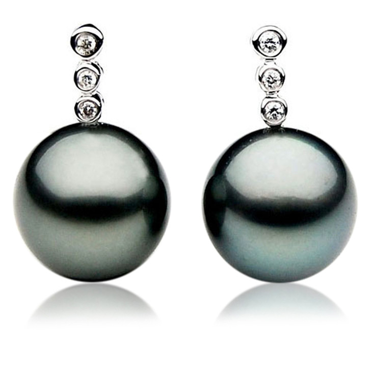 TE017 (AAA 11mm Tahitian Black Pearl Earrings Diamond 18k White Gold )