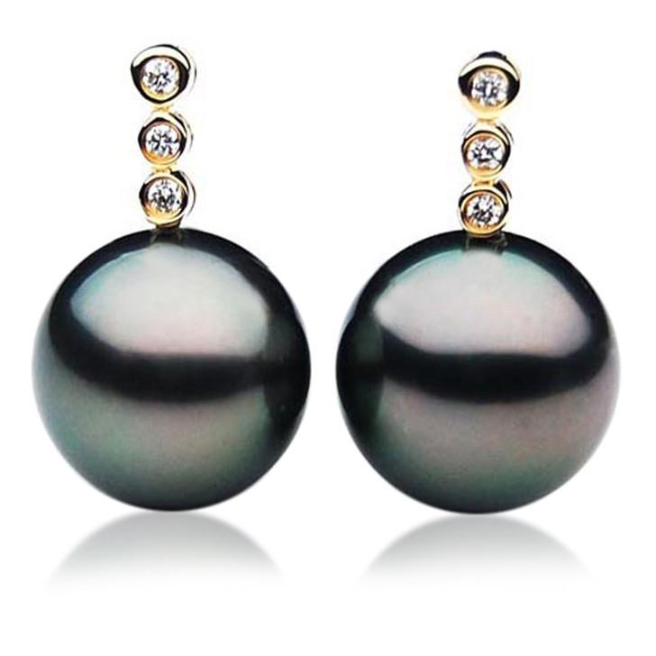 TE018 (AAA 11mm Tahitian Black Pearl Earrings Diamonds 18k Gold )