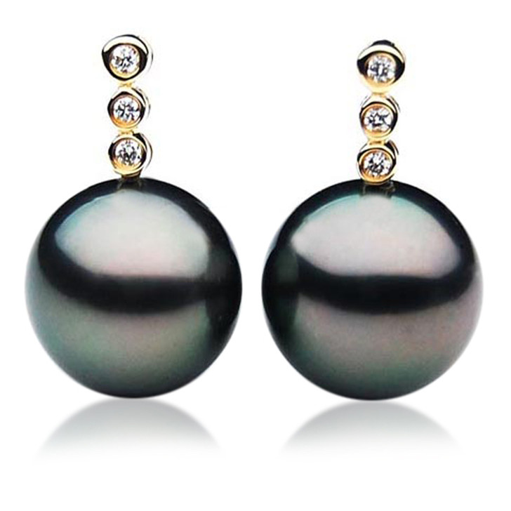 TE018 (AAA 11mm Tahitian Black Pearl Earrings Diamonds 18k Gold )