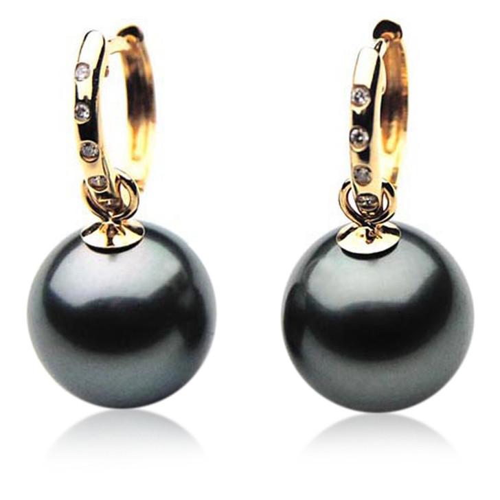 TE024 (AAA 11mm Tahitian Black Pearl Earrings Diamonds 18k Gold )