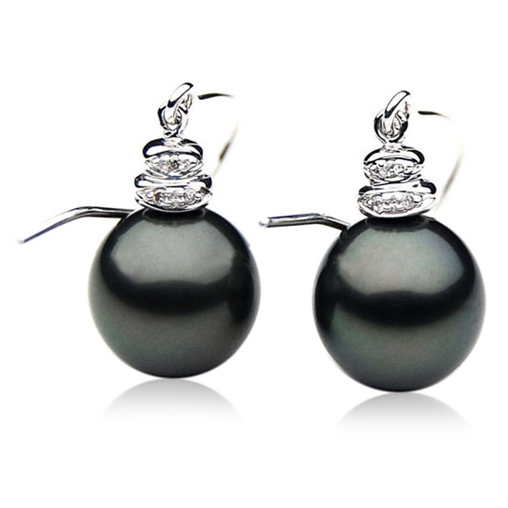 TE027 (AAA 11mm Tahitian Black Pearl Earrings Diamonds 18k White Gold )