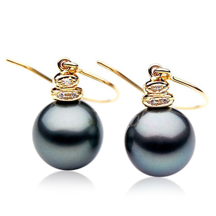 TE028 (AAA 11mm Tahitian Black Pearl Earrings Diamonds 18k Gold )