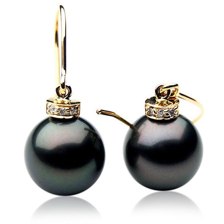 TE030 (AAA 11mm Tahitian Black Pearls And Diamonds In 18k Gold )