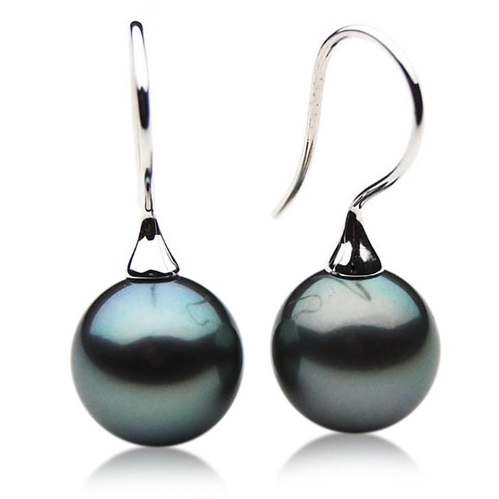 TE037 (AAA 12mm Tahitian Black Pearl Earrings In 18k White Gold )