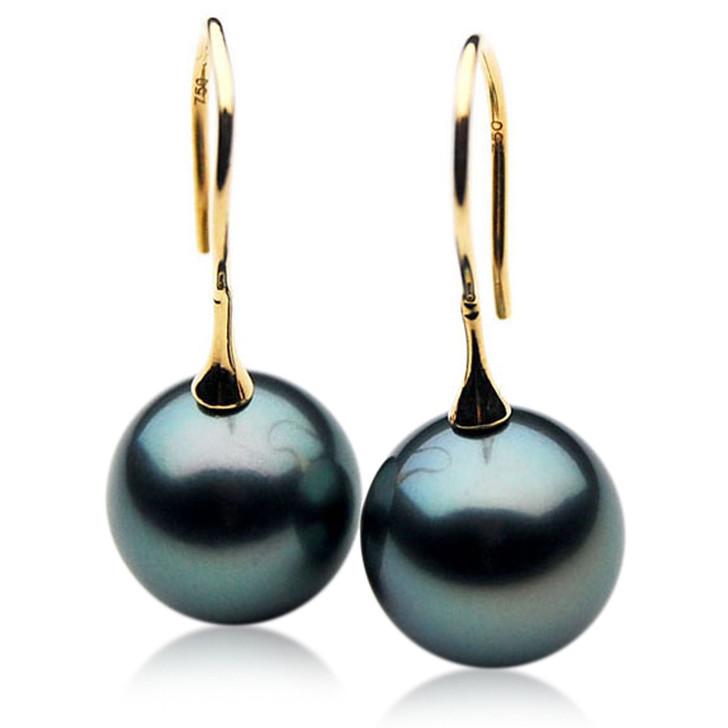 TE038 (AAA 12mm Tahitian Black Pearl Earrings  In 18k Gold )