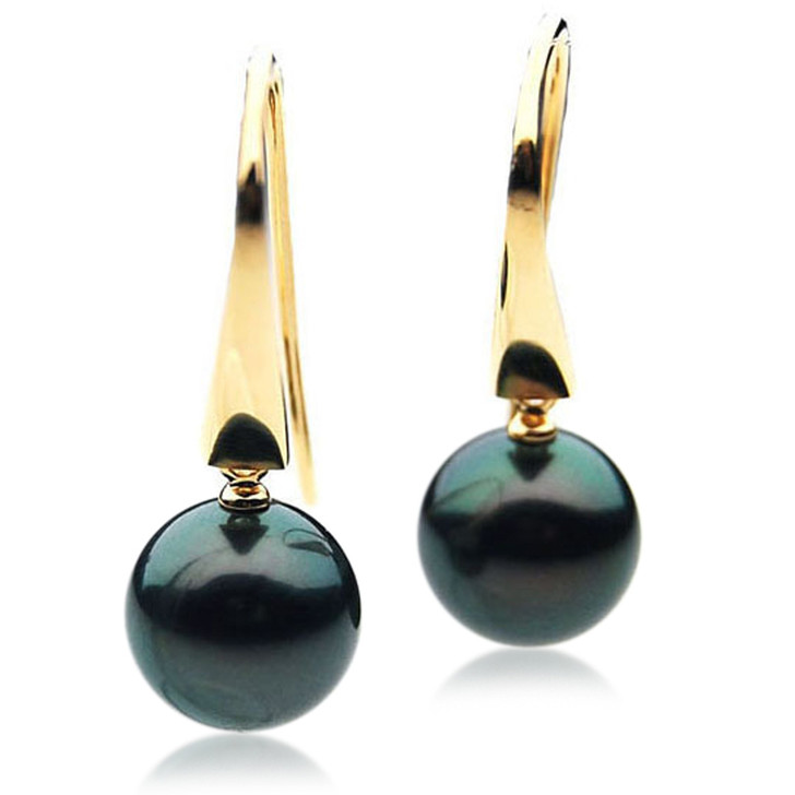 TE040 (AAA 12mm Tahitian Black Pearl Earrings In 18k Gold )