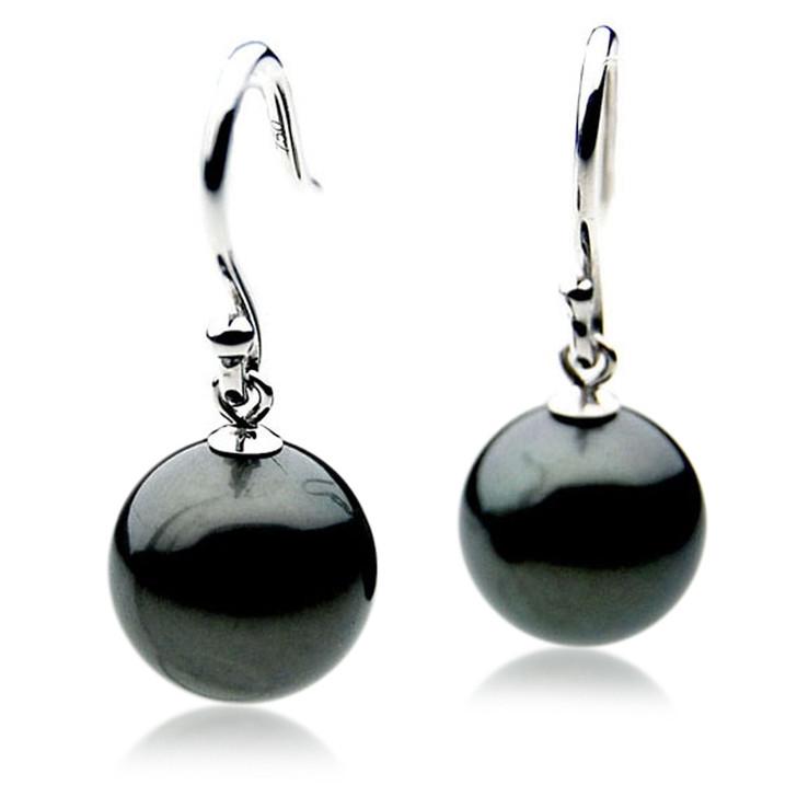 TE041 (AAA 12mm Tahitian Black Pearl Earrings In 18k White Gold )