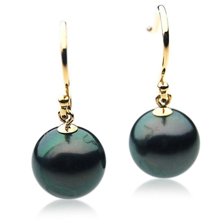 TE042 (AAA 12mm Tahitian Black Pearl Earrings  In 18k Gold )