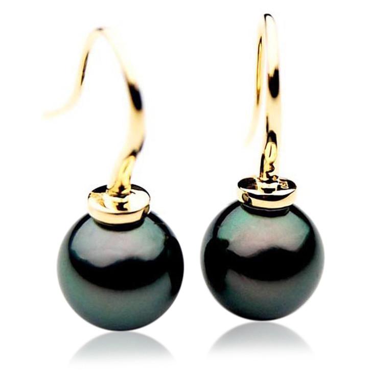 TE044 (AAA 12mm Tahitian Black Pearl Earrings  In 18k Gold )