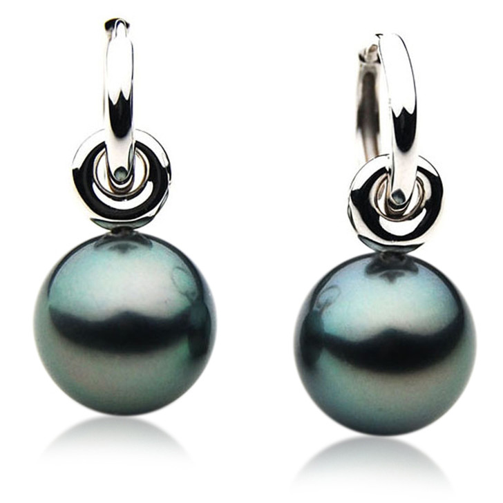 TE045 (AAA 12mm Tahitian Black Pearl Earrings In 18k White Gold )