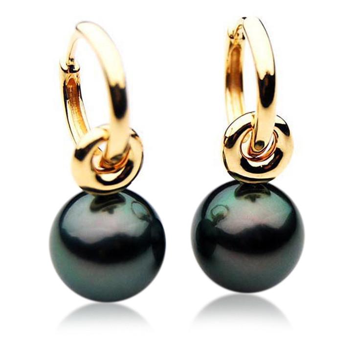 TE046 (AAA 12mm Tahitian Black Pearl Earrings In 18k Yellow Gold )