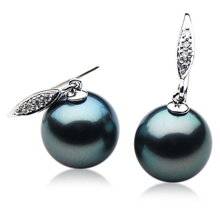 TE049 (AAA 12mm Tahitian Black Pearl Earrings Diamond 18k White Gold )