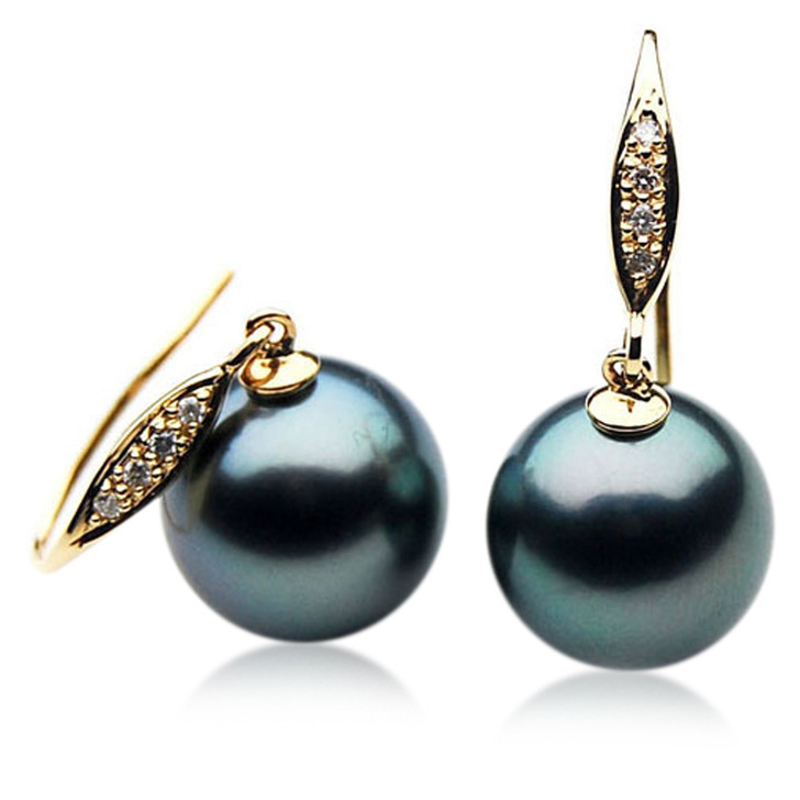 TE050 (AAA 12mm Tahitian Black Pearl Diamond Earrings 18k Gold )