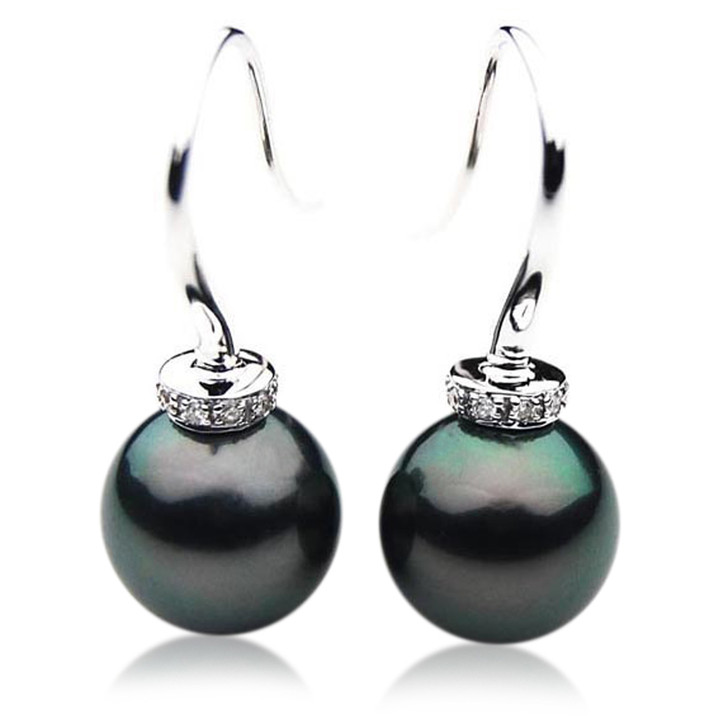 TE053 (AAA 12mm Tahitian Black Pearl Earrings Diamond 18k White Gold )