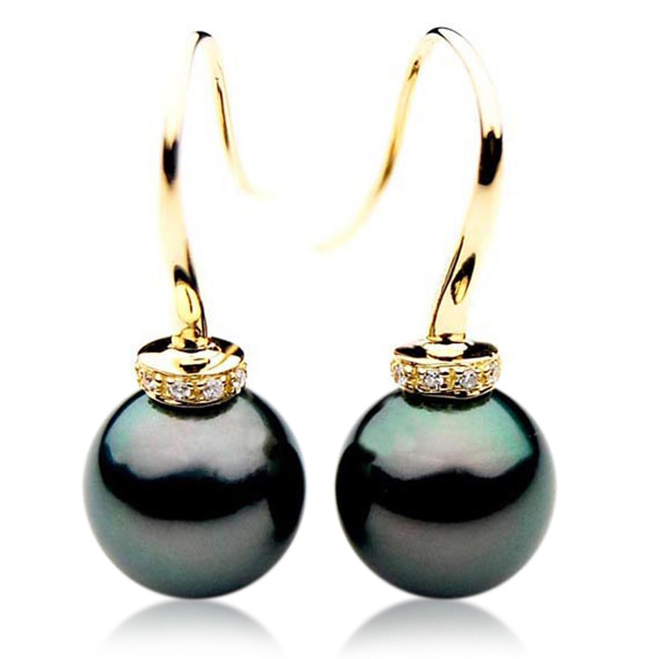 TE054 (AAA 12mm Tahitian Black Pearls and Diamonds In 18k Gold )