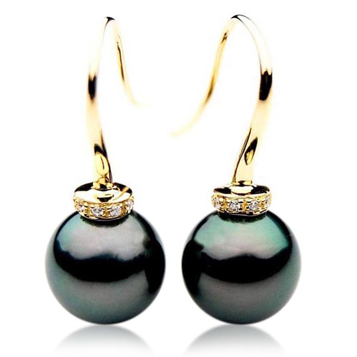 TE054 (AAA 12mm Tahitian Black Pearls and Diamonds In 18k Gold )