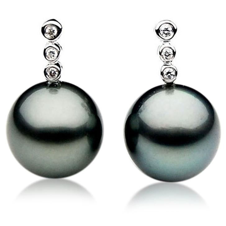 TE055 (AAA 12mm Tahitian Black Pearl Earrings Diamond  18k White Gold )