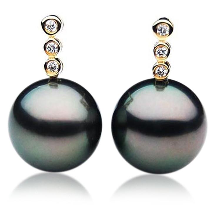 TE056 (AAA 12mm Tahitian Black Pearls and Diamonds In 18k Gold )
