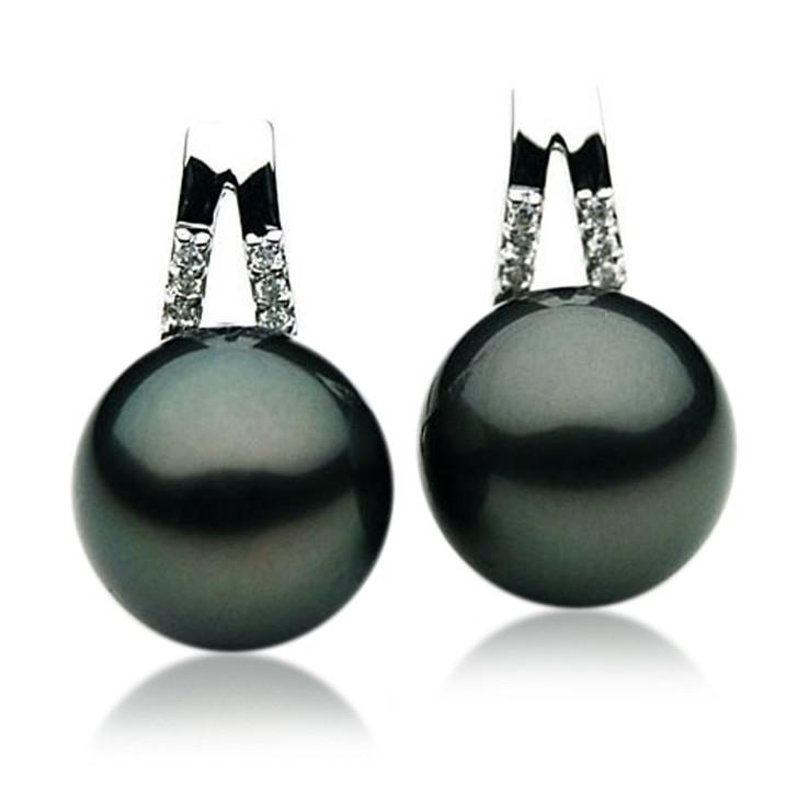TE061 (AAA 12mm Tahitian Black Pearl Diamond Earrings 18k White Gold )