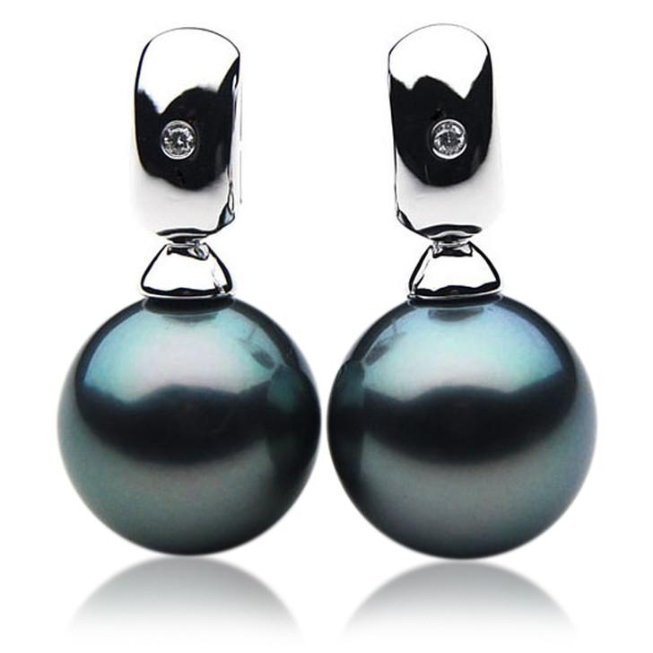 TE063 (AAA 12mm Tahitian Black Pearl Earrings Diamonds 18k White Gold )