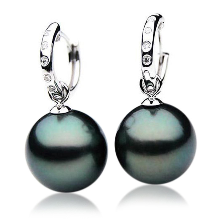 TE065 (AAA 12mm Tahitian Black Pearl Diamond Earrings 18k White Gold )