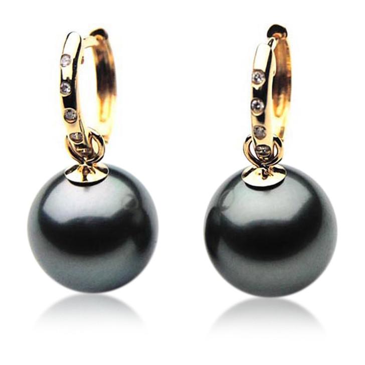 TE066 (AAA 12mm Tahitian Black Pearl Earrings Diamonds18k Gold )