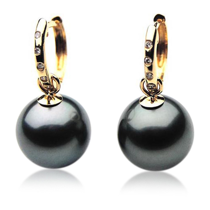 TE066 (AAA 12mm Tahitian Black Pearl Earrings Diamonds18k Gold )