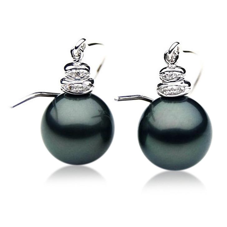 TE067 (AAA 12mm Tahitian Black Pearl Diamond Earrings 18k White Gold )