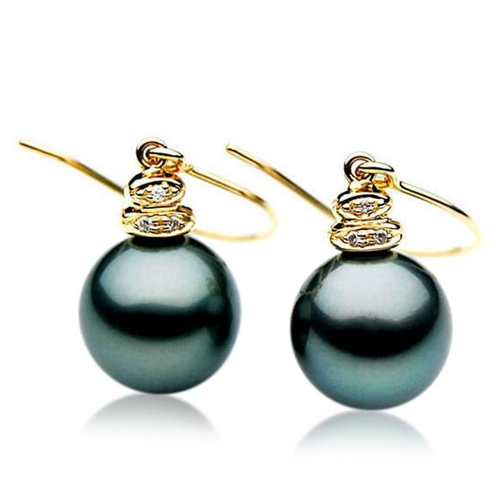 TE068 (AAA 12mm Tahitian Black Pearl Earrings Diamonds 18k Gold )