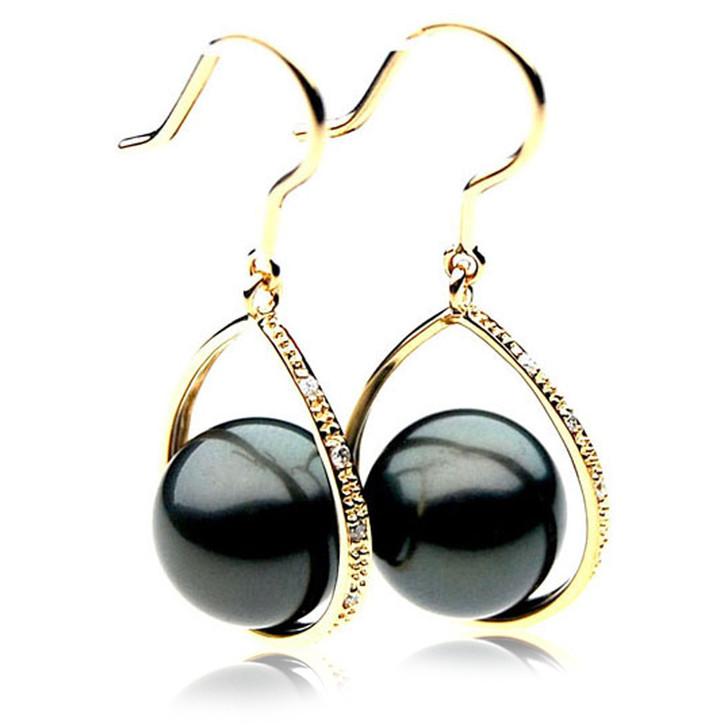 TE072 (AAA 12mm Tahitian Black Pearls and Diamonds In 18k Gold )