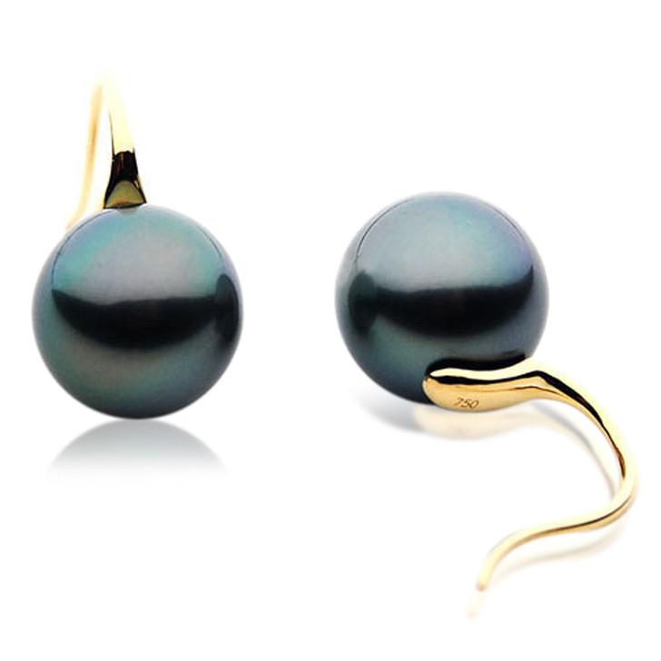 TE076 (AAA 13mm Tahitian Black Pearl Earrings  In 18k Gold )