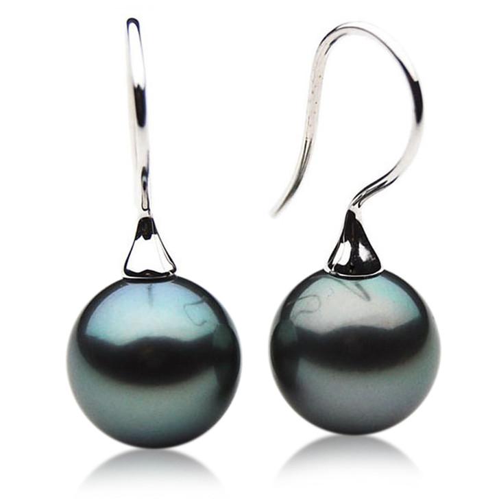 TE077 (AAA 13mm Tahitian Black Pearl Earrings In 18k White Gold )